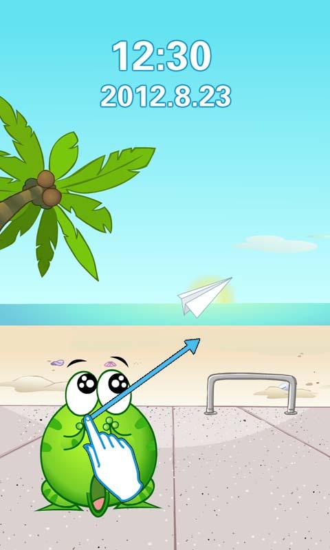 绿豆蛙纸飞机卡通创意锁屏